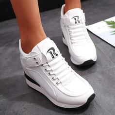 Dla kobiet PU Obcas Koturnowy Botki Round Toe Buty zimowe Z Sznurowanie Rzep Jednolity kolor obuwie