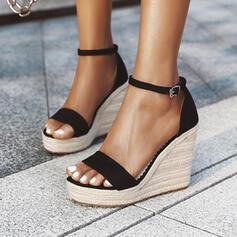 Dla kobiet PU Obcas Koturnowy Sandały Czólenka Platforma Koturny Otwarty Nosek Buta Obcasy Z Klamra Jednolity kolor obuwie