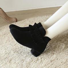 Dla kobiet Zamsz Obcas Stożek Botki Round Toe Z Marszczenie Jednolity kolor obuwie