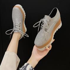 Dla kobiet Skóra ekologiczna Płaski Obcas Niskie góry Round Toe Poślizgnąć się na Mokasyny i slipy Z Cekin Jednolity kolor obuwie