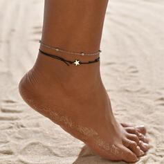 Prosty Stop Sznur skórzany Z Gwiazda Biżuteria plażowa Obrączki (Zestaw 2)