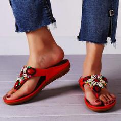 Women's Microfiber Flat Heel Sandals Flats Peep Toe Flip-Flops Slippers With Beading Flower Solid Color shoes