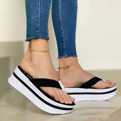 Women's PU Wedge Heel Sandals Pumps Wedges Flip-Flops Slippers Heels With Hollow-out Solid Color shoes