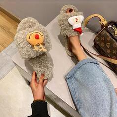 Dla kobiet Material Płaski Obcas Sandały Plaskie Otwarty Nosek Buta Kapcie Z Futro obuwie