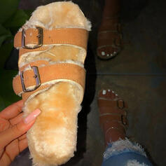Dla kobiet Skóra ekologiczna Płaski Obcas Sandały Otwarty Nosek Buta Kapcie Z Klamra Futro obuwie