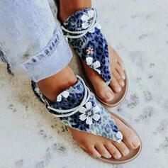 Dla kobiet PU Płaski Obcas Sandały Japonki Z Nadruk Zwierzęcy Nadruk Kwiatowy obuwie
