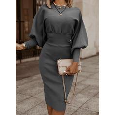 Jednolita Długie rękawy/Rękaw latarnia Bodycon Długośc do kolan Mała czarna/Elegancki Ołówkowa Sukienki