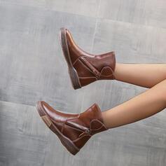 Dla kobiet PU Płaski Obcas Botki Round Toe Z Zamek błyskawiczny Jednolity kolor obuwie