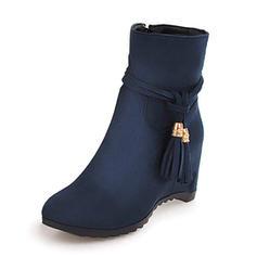 Dla kobiet Zamsz Obcas Koturnowy Kozaki Z Frędzle Jednolity kolor obuwie