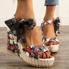 Dla kobiet Material Obcas Koturnowy Sandały Koturny Otwarty Nosek Buta Obcasy Z Kokarda Sznurowanie obuwie