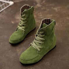 Dla kobiet Tkanina Płaski Obcas Plaskie Kozaki Z Sznurowanie obuwie