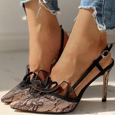 Dla kobiet Material Tkanina mesh Obcas Stiletto Czólenka Z Klamra Koronka obuwie