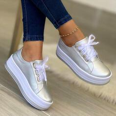 Dla kobiet PU Platforma Plaskie Z Sznurowanie Jednolity kolor obuwie