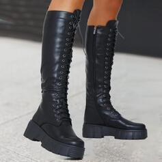 Dla kobiet PU Obcas Slupek Platforma Martin Buty Z Sznurowanie Jednolity kolor obuwie