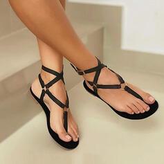 Dla kobiet PU Płaski Obcas Sandały Plaskie Otwarty Nosek Buta Bez Pięty Japonki Niskie góry Z Tkanina Wypalana Jednolity kolor Bandaż obuwie