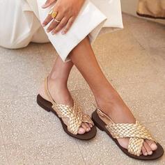 Dla kobiet Skóra ekologiczna Płaski Obcas Sandały Plaskie Otwarty Nosek Buta Z Elastic Band obuwie