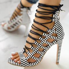 Dla kobiet PU Obcas Stiletto Sandały Otwarty Nosek Buta Z Nadruk Zwierzęcy Sznurowanie obuwie