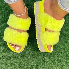 Dla kobiet Aksamit Płaski Obcas Sandały Platforma Kapcie Z Tkanina Wypalana Futro obuwie