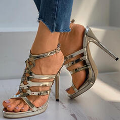 Women's PU Stiletto Heel Sandals Pumps Peep Toe With Buckle Hollow-out Solid Color shoes