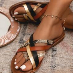Dla kobiet PU Płaski Obcas Sandały Plaskie Japonki Z Nadruk Zwierzęcy Tkanina Wypalana Kolor splotu obuwie