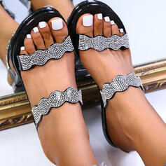 Women's PVC Flat Heel Sandals Flats Peep Toe Slippers Round Toe With Pearl shoes