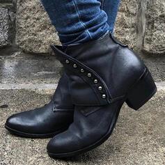 Dla kobiet PU Obcas Slupek Kozaki Z Nit Jednolity kolor obuwie