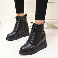 Dla kobiet PU Obcas Slupek Botki Round Toe Z Jednolity kolor obuwie