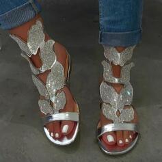Dla kobiet PU Płaski Obcas Sandały Plaskie Otwarty Nosek Buta Z Stras/ Krysztal Górski Tkanina Wypalana Jednolity kolor obuwie