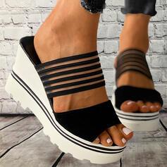 Dla kobiet PVC Obcas Koturnowy Sandały Platforma Koturny Otwarty Nosek Buta Kapcie Z Tkanina Wypalana Bandaż Paski obuwie