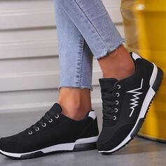 Dla kobiet Zamsz Płaski Obcas Platforma Plaskie Niskie góry Tenisówki Z Sznurowanie Kolor splotu Wydrukować obuwie