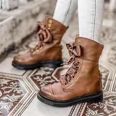 Dla kobiet PU Obcas Slupek Botki Martin Buty Z Kokarda Sznurowanie Jednolity kolor obuwie