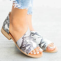 Women's PU Low Heel Sandals Peep Toe With Zipper Hollow-out shoes