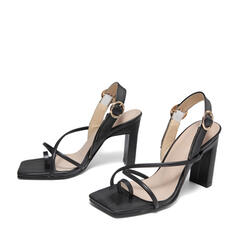 Women's PU Stiletto Heel Sandals Pumps Peep Toe Square Toe With Buckle Flower shoes