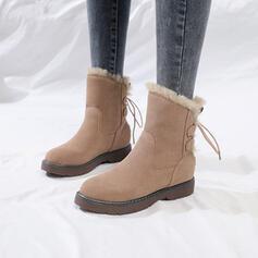 Dla kobiet Skóra ekologiczna Płaski Obcas Botki Round Toe Z Jednolity kolor obuwie