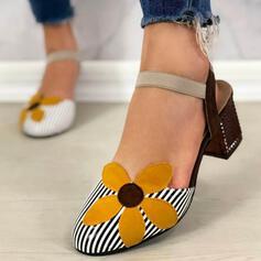 Dla kobiet Skóra ekologiczna Obcas Slupek Czólenka Zakryte Palce Z Kwiaty Paski obuwie