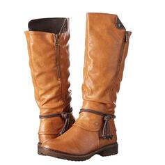 Dla kobiet PU Obcas Slupek Kozaki do polowy lydki Wysoki szczyt Round Toe Z Zamek błyskawiczny Frędzle obuwie