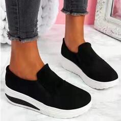 Dla kobiet PU Płaski Obcas Plaskie Platforma Round Toe Niesznurowane mokasyny Poślizgnąć się na Z Kolor splotu Jednolity kolor obuwie