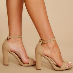 Women's PU Chunky Heel Pumps Peep Toe With Buckle Hollow-out Solid Color shoes
