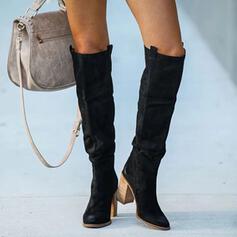 Dla kobiet PU Obcas Slupek Kozaki Kozaki do kolan Z Marszczenie Jednolity kolor obuwie
