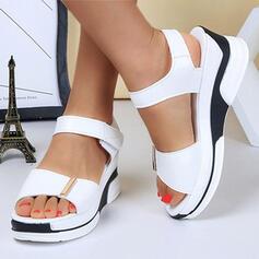 Dla kobiet PU Obcas Koturnowy Sandały Z Rzep Colorblock obuwie
