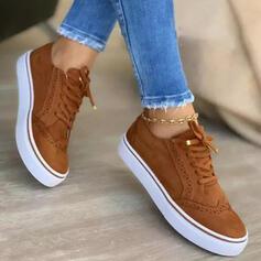 Dla kobiet Zamsz Płaski Obcas Platforma Plaskie Niskie góry Tenisówki Z Sznurowanie Jednolity kolor obuwie
