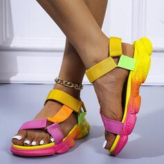 Dla kobiet PU Płaski Obcas Sandały Plaskie Platforma Otwarty Nosek Buta Z Tkanina Wypalana Rzep obuwie