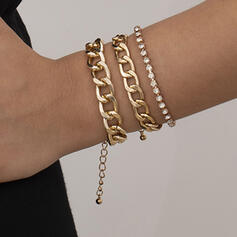 Fashionable Sexy Vintage Classic Alloy With Rhinestone Gold Plated Women's Ladies' Bracelets 3 PCS