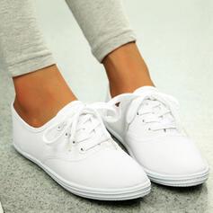 Dla kobiet Płótno Płaski Obcas Plaskie Round Toe Espadrille Z Sznurowanie Jednolity kolor obuwie
