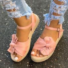 Dla kobiet Material Płaski Obcas Sandały Platforma Koturny Otwarty Nosek Buta Z Kokarda Klamra Tkanina Wypalana obuwie