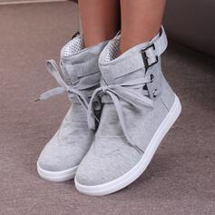 Dla kobiet PU Płaski Obcas Botki Z Sznurowanie Jednolity kolor obuwie