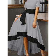 Color Block Short Sleeves A-line Asymmetrical Party/Elegant Skater Dresses