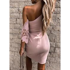 Lace/Solid 3/4 Sleeves Sheath Above Knee Elegant Dresses