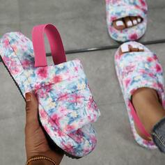 Dla kobiet Zamsz Płaski Obcas Sandały Platforma Otwarty Nosek Buta Bez Pięty Kapcie Z Elastic Band Nadruk Kwiatowy obuwie