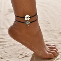 Prosty Stop Lina pleciona Z Żółw Moneta Biżuteria plażowa Obrączki (Zestaw 2)
